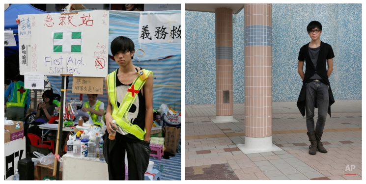 This combination of photos show, left, Suen Yuk Ming, 20, a student, posing for a portrait in front of a first aid booth on a main road in the occupied area of the Mong Kok district in Hong Kong on Oct. 11, 2014, and Suen Yuk Ming, 21, now a graduated student, posing for a portrait near his home in Hong Kong almost one year later on Sept. 27, 2015. (AP Photo/Vincent Yu)