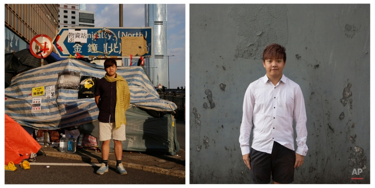 This combination of photos, shows left, Kelvin Lee, then a student studying aviation management, posing for a portrait in front of a makeshift tent on a main road in an occupied area near government headquarters in Hong Kong on Oct. 10, 2014, and right, Lee, now a graduated student, posing for a portrait near a subway station in Hong Kong almost one year later on Sept. 25, 2015. (AP Photo/Vincent Yu)