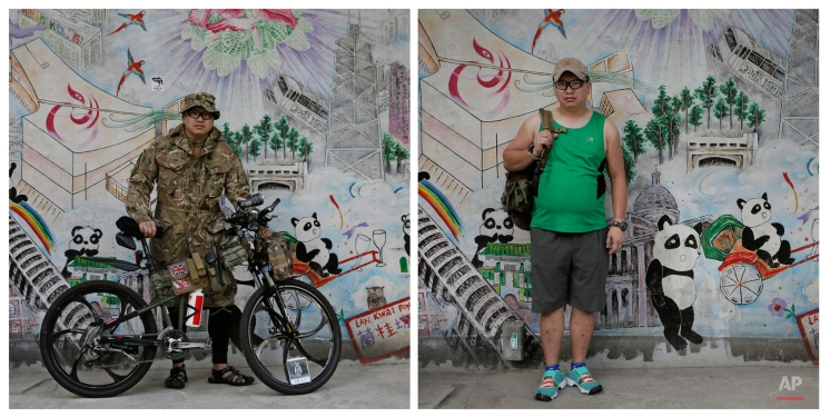 This combination of photos show Hacken Tse, 38, a freelance photographer, posing for a portrait on a main road in an occupied area near government headquarters in Hong Kong on Oct. 10, 2014, and Tse posing for a portrait at the same place almost one year later on Sept. 26, 2015. (AP Photo/Vincent Yu)