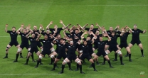 New Zealand players perform the haka before their Rugby World Cup Pool C match between New Zealand and Tonga at St James' Park, Newcastle, England, Friday, Oct. 9, 2015. (AP Photo/Scott Heppell)