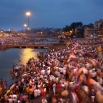 Hundreds of thousands of Hindu devotees gather to take holy dips in the river Godavari, hoping to cleanse themselves of sin, on the second royal bathing date of the ongoing Kumbh Mela, or Pitcher Festival, in Nashik, India, Sunday, Sept. 13, 2015. A group of technology innovators has launched a digital information platform at the six-week Festival, that they say is helping to maintain order and calm among those camping near the river bank and piling into the water for one of humanityís largest religious gatherings. The digital platform, accessible by a free Android cellphone app, allows authorities and festival-goers to collect, view and share data about festival food carts, traffic jams and the location of porta-potties or medical tents, giving users an up-to-date record of what's happening and where. (AP Photo/Manish Swarup)