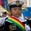 A girl dressed in a Bolivian sailor costume attends a rally in support of Bolivia's bid for access to the sea in La Paz, Bolivia, Thursday, Sept. 24, 2015. The UN's highest court ruled that it has jurisdiction to hear a case focusing on access to the Pacific coast for landlocked Bolivia which lost its access to the ocean during the War of the Pacific that it fought with Chile in 1879-83. (AP Photo/Juan Karita)