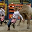 Bull fighters run away of a bull during an edition of the Extreme Rodeo show in Panama City, Sunday, Sept. 27, 2015. (AP Photo/Arnulfo Franco)