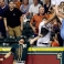 Oakland Athletics left fielder Craig Gentry reaches for the ball on a three-run homer by Houston Astros' Evan Gattis in the seventh inning of a baseball game Saturday, Sept. 19, 2015, in Houston. (AP Photo/Pat Sullivan)