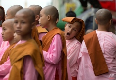 Novice Buddhist nuns line up after walking the streets to collect alms in central Yangon, Myanmar, Tuesday, Nov. 10, 2015. Myanmar was trapped in a post-election limbo Tuesday with official results barely trickling in, although opposition leader Aung San Suu Kyi's party claimed a victory massive enough to give it the presidency and loosen the military's grip on the country.(AP Photo/Mark Baker)