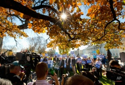 Democratic presidential candidate Sen. Bernie Sanders, I-Vt., center, announce new climate legislation, Wednesday, Nov. 4, 2015, during a news conference on Capitol Hill in Washington. (AP Photo/Pablo Martinez Monsivais)