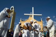 A group devoted of Saint GonÁalo dance in front the Perpetuo Socorro church during Day of the Dead celebrations, in Juazeiro do Norte, Brazil, Monday, Nov. 2, 2015. The Portuguese saint is usually celebrated with a dance that is offered all the souls.(AP Photo/Leo Correa)