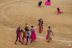 Bullfighter Lilian Ferrani, bottom third left, gets help by his mates after he was tossed by a fighting bull during a bullfight at Las Ventas bullring in Madrid, Spain, Sunday, June 21, 2015. Bullfighting is a traditional spectacle in Spain and the season runs from March to October. (AP Photo/Andres Kudacki)