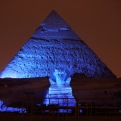 The Sphinx and the historical site of the Giza Pyramids are illuminated with blue light, as part of the celebration of the 70th anniversary of the United Nations, on Saturday, Oct. 24, 2015, in Giza, just outside Cairo, Egypt. Oct. 24 is the anniversary of the entry into force of the U.N. Charter in 1945 and is celebrated as U.N. Day. (AP Photo/Amr Nabil)