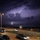 Lightning strikes on the beach of Gaza City, Wednesday, Oct. 28, 2015. (AP Photo/ Khalil Hamra)