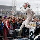 Mercedes driver Lewis Hamilton, of Britain, celebrates after winning the world championship with his victory at the Formula One U.S. Grand Prix auto race at the Circuit of the Americas, Sunday, Oct. 25, 2015, in Austin, Texas. (AP Photo/John Locher)