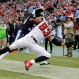 Atlanta Falcons tight end Jacob Tamme (83) can't catch a pass in the end zone as he is defended by Tennessee Titans safety Daimion Stafford (39) in the first half of an NFL football game Sunday, Oct. 25, 2015, in Nashville, Tenn. (AP Photo/James Kenney)
