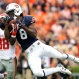 Auburn wide receiver Tony Stevens (8) catches a pass over the top of Mississippi defensive back Mike Hilton (38) during the second half of an NCAA college football game, Saturday, Oct. 31, 2015, in Auburn, Ala. Mississippi defeated Auburn 27-19. (AP Photo/Butch Dill)