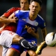 Yemen's Ahmed Al-Sarori, left, and the Philippines' Kevin Ingreso battle for ball possession during the Preliminary Joint Qualification Round 2, the 2018 FIFA World Cup Russia and AFC Asian Cup UAE 2019 soccer match Thursday, Nov. 12, 2015 in Manila, Philippines. Yemen won 1-0 on a goal by Ahmed and denying the Philippines a chance to qualify for the World Cup. (AP Photo/Bullit Marquez)