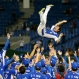South Korea's second baseman Jeong Keun-woo is tossed into the air by teammates after beating the United States 8-0 in their final game at the Premier12 world baseball tournament at Tokyo Dome in Tokyo, Saturday, Nov. 21, 2015. South Korea won the inaugural tournament. (AP Photo/Toru Takahashi)