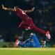 West Indies' Darren Bravo jumps to avoid colliding with Sri Lanka's Shehan Jayasuriya during their second Twenty20 cricket match in Colombo, Sri Lanka, Wednesday, Nov. 11, 2015. (AP Photo/Eranga Jayawardena)