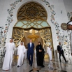 U.S. Secretary of State John Kerry, center, tours the Sheikh Zayed Grand Mosque with Emirati Foreign Minister Abdullah bin Zayed Al Nahyan, far left, H.E. Dr. Yousif Abdullah Al Obaidi, the mosque's General Manager, second left, and Hajar Alali, right, the mosque's cultural guide, in Abu Dhabi, United Arab Emirates on Monday, Nov. 23, 2015. (AP Photo/Jacquelyn Martin, Pool)