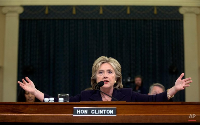 Democratic presidential candidate and former Secretary of State Hillary Rodham Clinton testifies on Capitol Hill in Washington, Thursday, Oct. 22, 2015, before the House Select Committee on Benghazi. (AP Photo/Carolyn Kaster)