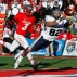 Utah State wide receiver Andrew Rodriguez dives to catch a 24-yard touchdown pass past New Mexico cornerback Cranston Jones (3) during the second half of an NCAA college football game in Albuquerque, N.M., Saturday, Nov. 7, 2015. New Mexico won 14-13. (AP Photo/Andres Leighton)