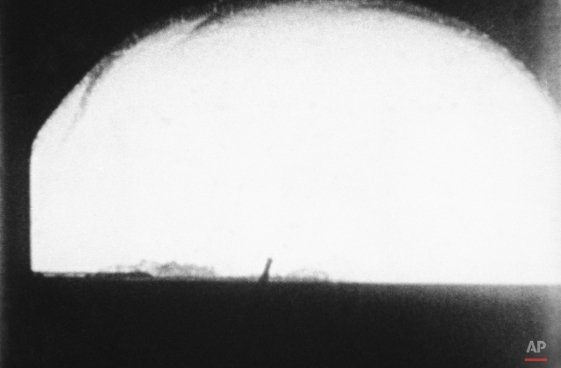"""This May 21, 1956, file photo shows the H-Bomb """"Cherokee"""" over Bikini Atoll, Marshall Islands. The announcement Wednesday, Jan. 6, 2016, from North Korea that it had carried out a nuclear test brought to the front lines of global attention a phrase not often heard since the Cold War, """"the H-bomb."""" (AP Photo)"""