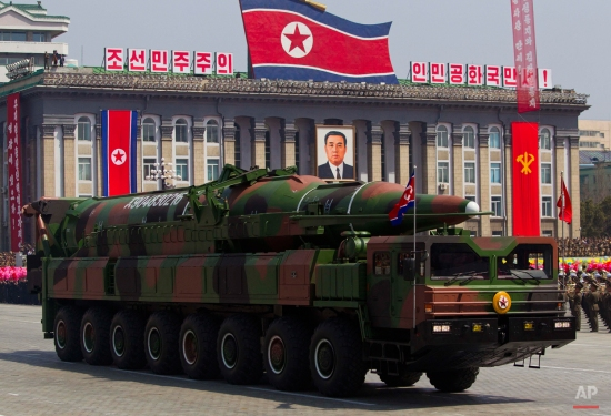 In this Sunday, April 15, 2012 file photo, a North Korean vehicle carries a missile during a mass military parade in Pyongyang's Kim Il Sung Square to celebrate the centenary of the birth of the late North Korean founder Kim Il Sung. (AP Photo/David Guttenfelder)