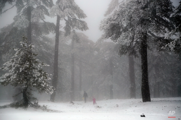 A father and his daughter walk during snowfall on Troodos mountains in central part of the Mediterranean island of Cyprus, Monday, Jan. 4, 2016. A low pressure system affecting the region has brought low temperatures, rain and snow in Cyprus' mountainous regions. More rain is forecast for the rest of the week. (AP Photo/Petros Karadjias)