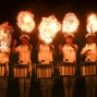 Members of the Indian Navy band perform a fire act during rehearsals for Naval Day celebrations in Mumbai, India, Wednesday Dec. 2, 2015. India celebrates Navy Day on Dec. 4. (AP Photo/Rafiq Maqbool)