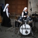 A nun tests her drums in preparation for tomorrow's beatification ceremony for three slain Franciscan missionaries in Chimbote, Peru, Dec. 4, 2015. Fathers Miguel Tomaszek and Zbigniew Strzalkowski, both from Poland, and Alessandro Dordi, from Italy, were killed by Shining Path rebels in 1991. (AP Photo/Martin Mejia)