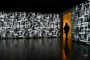 """A museum guard stands at the doorway to a digital media installation by Venezuelan artist Magdalena Fernandez at the Museum of Fine Arts Houston, Wednesday, Feb. 17, 2016, in Houston. The video installation titled """"2iPM009"""" is from the series Pinturas Moviles. (AP Photo/Pat Sullivan)"""