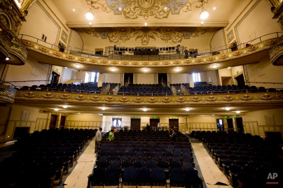 In this Thursday, Jan. 7, 2016 photo, a view from the stage is seen of the Lyric Theatre during renovations in Birmingham, Ala. (AP Photo/Brynn Anderson)