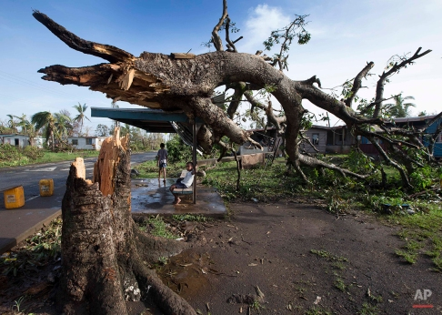 Two boys are under a bus shelter that is supporting a fallen tree in the village of Talecake, Fiji, Wednesday, Feb. 24, 2016, after cyclone Winston ripped through the island nation. The cyclone tore through Fiji over the weekend with winds that reached 177 miles (285 kilometers) per hour, making it the strongest storm in Fiji's recorded history. (Brett Phibbs/New Zealand Herald via AP)