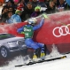 Slovakia's Adam Zampa crashes against air-bag barriers after crossing the finish line during the slalom portion of an alpine ski, men's World Cup combined, in Kitzbuehel, Austria, Friday, Jan. 22, 2016. (AP Photo/Giovanni Auletta)