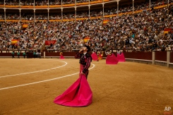 A spanish bullfighter assistant send a kiss to the sky during a bullfight of the San Isidro fair Madrid, Spain, Friday, May 29, 2015. San Isidro's bullfighting fair is one of the most important in the world. Bullfighting is an ancient tradition in Spain. (AP Photo/Daniel Ochoa de Olza)