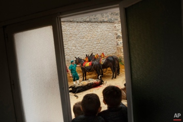 Three children look from a window as a dead fighting bull is dragged to the backyard of the bullring during a bullfight at La Muralla bullring, in Brihuega, Spain, Saturday, April 11, 2015. Bullfighting is an ancient tradition in Spain. (AP Photo/Daniel Ochoa de Olza)