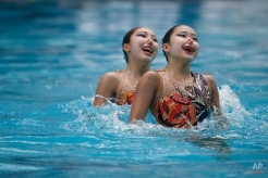 Republic of Korea's Riyoung Lee and Ji Wan Uhm perform during the Synchronised Swimming Olympic Games Qualification Tournament at the Maria Lenk Aquatics Center in Rio de Janeiro, Brazil, Wednesday, March 2, 2016. The tournament is also a test event for the Rio 2016 Olympics. (AP Photo/Felipe Dana)