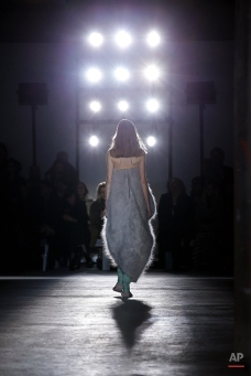 A model wears a creation for Rick Owens' Fall-Winter 2016 - 2017 ready to wear collection presented Thursday, March 3, 2016, in Paris. (AP Photo/Thibault Camus)