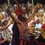 In this Feb. 8, 2016 photo, members of the Salgueiro samba school perform during a carnival parade inside the Sambadrome of Rio de Janeiro, Brazil. (AP Photo/Silvia Izquierdo)