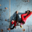 Iranian rock climber Farnaz Esmaeilzadeh, scales a climbing gym in the city of Zanjan, some 330 kilometers (207 miles) west of the capital Tehran, Iran on Monday, Jan. 18, 2016 photo. Esmaeilzadeh, 27, who has been climbing since she was 13, has distinguished herself in international competitions despite the barriers she faces as a female athlete in conservative Iran. (AP Photo/Ebrahim Noroozi)