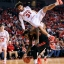 Nebraska's Shavon Shields (31) rolls off the back of Rutgers' D.J. Foreman (1) and crashes onto the floor during the second half of an NCAA college basketball game in Lincoln, Neb., Saturday, Feb. 6, 2016. (AP Photo/Nati Harnik)
