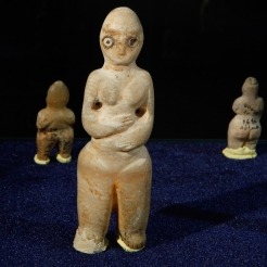In this picture taken on Tuesday, April 2, 2013, Alabaster figurines of mother - goddess tell Es-Sawwan, belonging to the 6th millennium B.C. is displayed at the Iraqi National Museum in Baghdad, Iraq. (AP Photo/Hadi Mizban)
