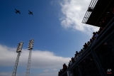Aircraft belonging to the U.S. Navy VAW-120 Greyhawks Squadron fly over Great American Ballpark before an opening day baseball game between the Cincinnati Reds and the Philadelphia Phillies, Monday, April 4, 2016, in Cincinnati. (AP Photo/John Minchillo)