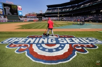 An opening day logo decorates the field before the start of the final season home-opening baseball game at Turner Field between the Atlanta Braves and the Washington Nationals, Monday, April 4, 2016, in Atlanta. The Braves will move to a newly constructed stadium for next season. (AP Photo/David Goldman)