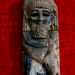 In this Wednesday, April 3, 2013 photo, a statue from the Kingdom of Nimrod from the ninth century B.C. is displayed at the Iraqi National Museum in Baghdad, Iraq. (AP Photo/Hadi Mizban)