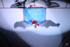 Washington Capitals goalie Braden Holtby (70) skates in front of the goal before an NHL hockey game against the Pittsburgh Penguins, Thursday, April 7, 2016, in Washington. The Penguins won 4-3 in overtime. (AP Photo/Alex Brandon)