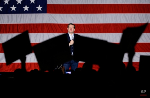 Republican presidential candidate, Sen. Ted Cruz, R-Texas, looks to supporters as he speaks at a campaign stop at Waukesha County Exposition Center, Monday, April 4, 2016, in Waukesha, Wis. (AP Photo/Nam Y. Huh)