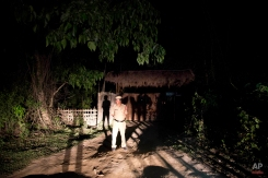 A security personnel stands outside the hotel where the Duke and Duchess of Cambridge are staying near the Kaziranga National Park, east of Gauhati, Assam state, India , Wednesday, April 13, 2016. A strong earthquake struck Myanmar on Wednesday night and was felt in parts of eastern India and Bangladesh, causing residents to rush out of their homes in panic. The tremors were felt in the eastern Indian states of Assam and West Bengal, including in the area of Assam's Kaziranga National Park. The British High Commission in New Delhi said Prince William and his wife, the former Kate Middleton, were safe. (AP Photo/ Anupam Nath)
