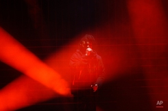 The Weeknd performs during the 2016 Echo Music Award ceremony in Berlin, Thursday, April 7, 2016. (AP Photo/Markus Schreiber, Pool)