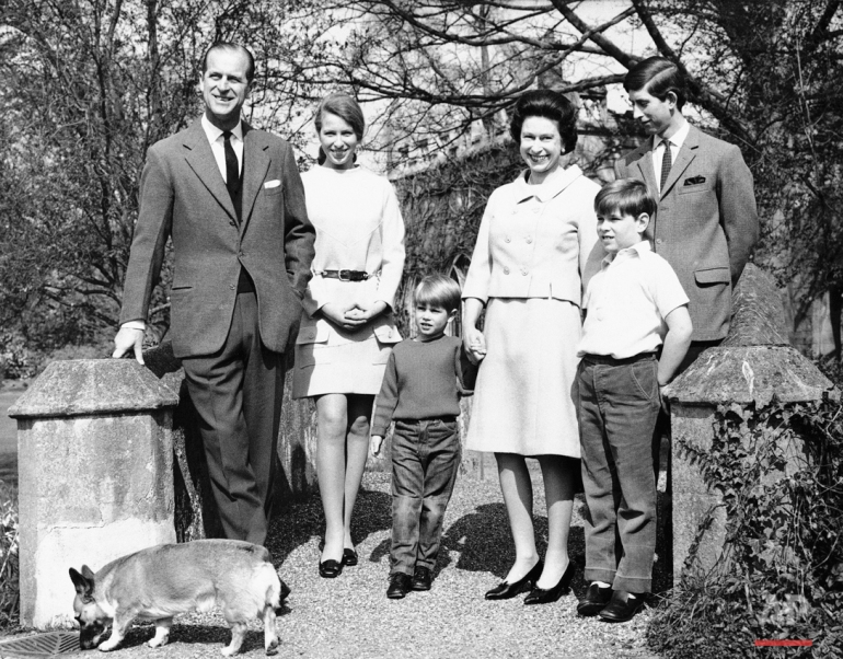 Queen Elizabeth II, who will celebrate her 42nd birthday, April 21, 1968, poses with her family at Frogmore, Windsor, England. From left, are: the Duke of Edinburgh, 46; Princess Anne, 17; Prince Edward, 4; the Queen; Prince Andrew, 8; and Prince Charles, the Prince of Wales, 19. Dog is family's pet Corgi. (AP Photo)