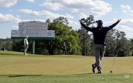 Tom Watson reacts after a long putt on the 18th hole playing his last round at the Masters golf tournament Friday, April 8, 2016, in Augusta, Ga. (AP Photo/Chris Carlson)