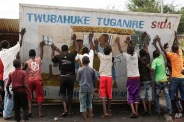 People set up a barricade in the Musaga district of Bujumbura, Burundi, Saturday May 9, 2015. (AP Photo/Jerome Delay)